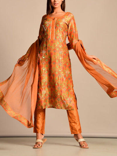 Rust Printed Silk Suit Set