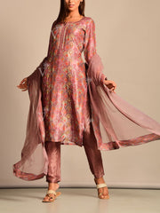 Misty Pink Printed Silk Suit Set