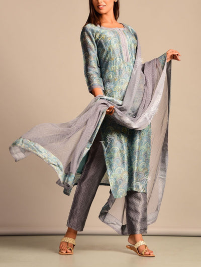Grey Blue Printed Silk Suit Set