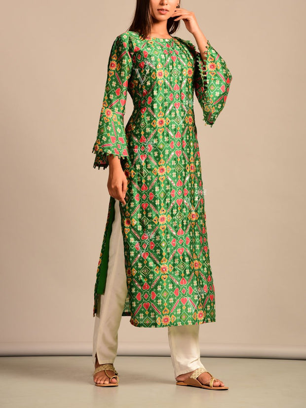 Deep Green Printed Silk Kurti