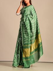 Limited Edition Green Bandhani Hand Crafted Saree