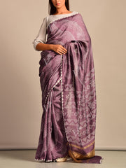 Limited Edition Lavender Bandhani Hand Crafted Saree