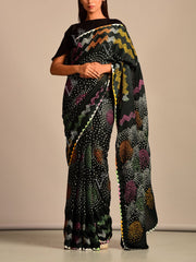 Saree, Sarees, Printed, Silk, Moder, Bandhani, Bandhej, Polka dots, Traditional wear, Traditional outfit, Light weight, Regular wear, Casual wear