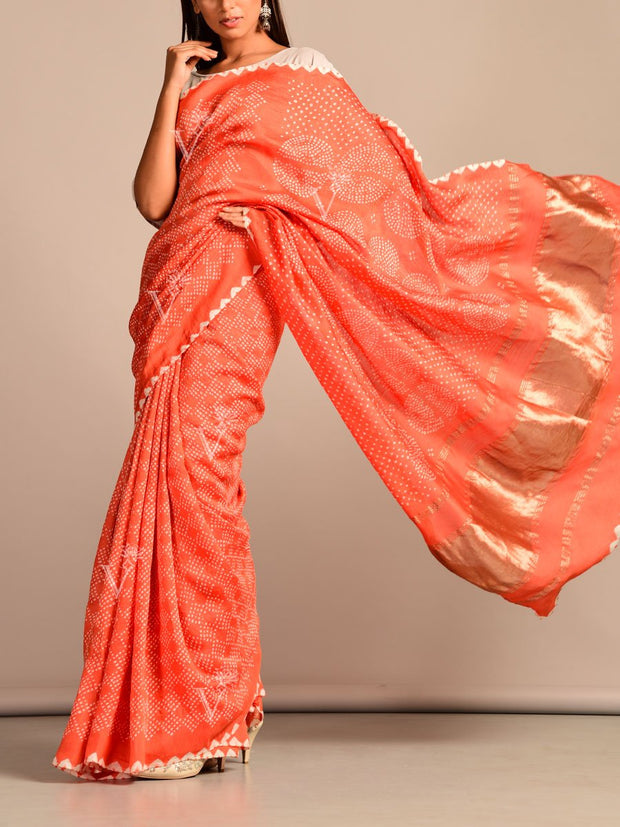 Limited Edition Peach Bandhani Hand Crafted Saree
