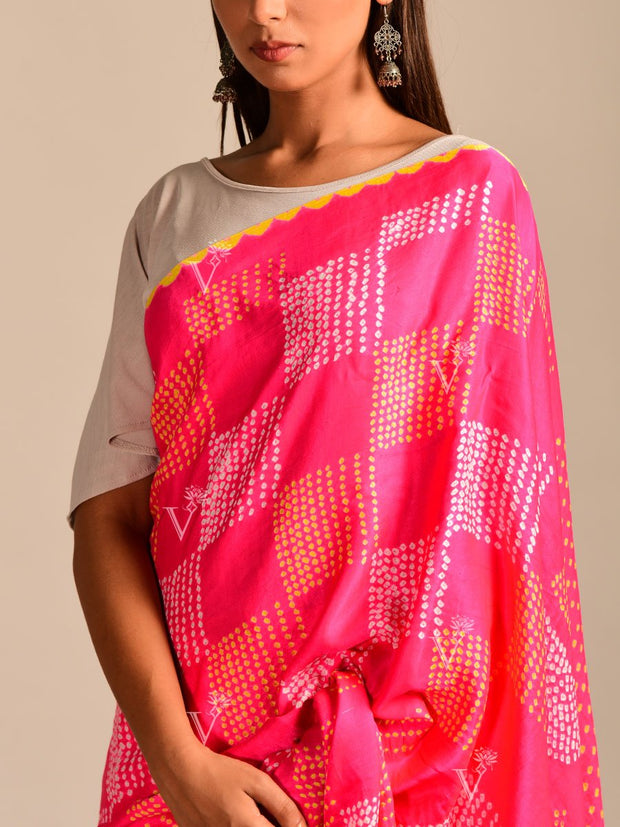 Limited Edition Pink Bandhani Hand Crafted Saree