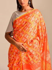 Limited Edition Orange Bandhani Hand Crafted Saree