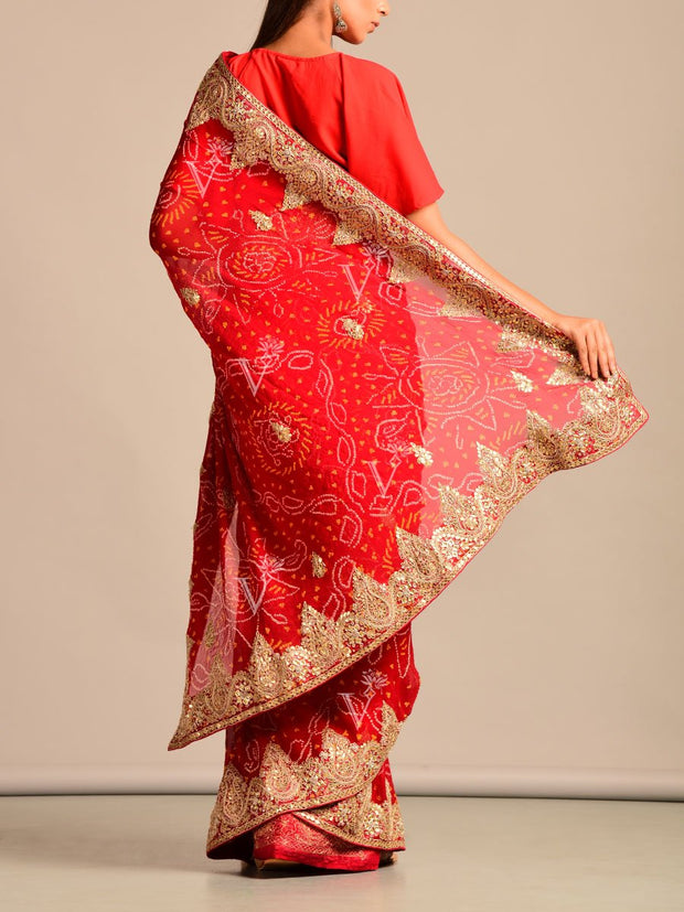 Red Bandhani Georgette Gota Patti Saree