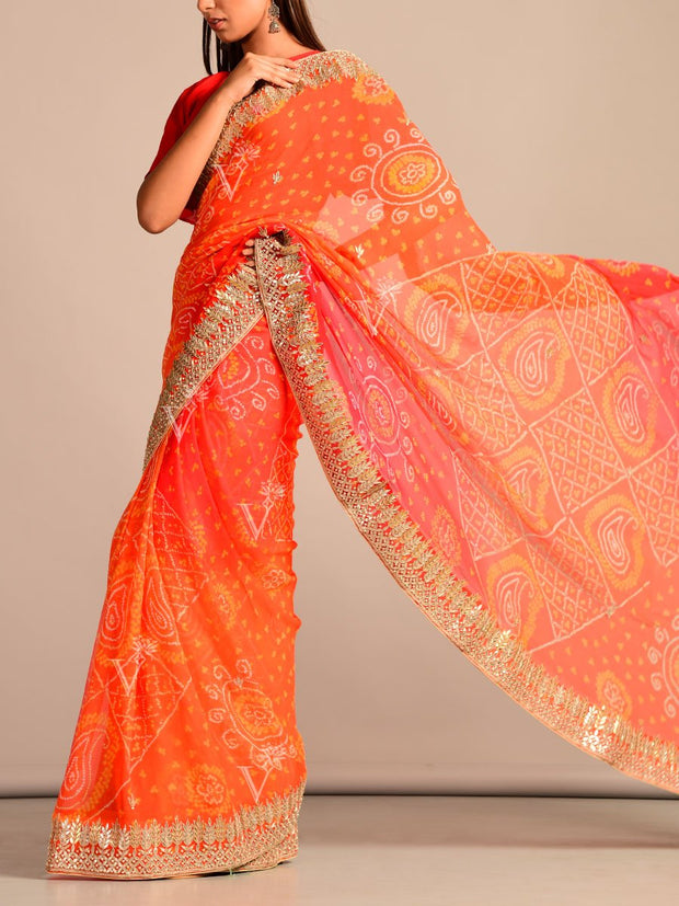 Orange Bandhani Georgette Gota Patti Saree