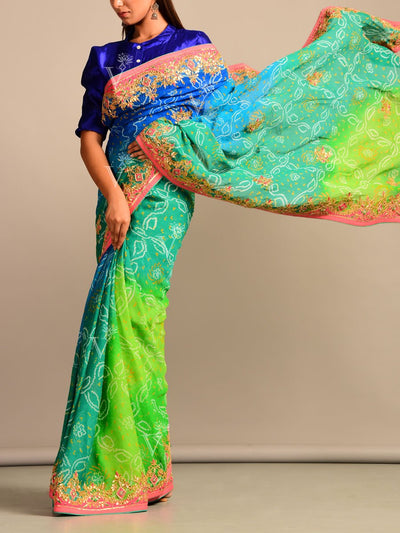 Multi Color Bandhani Goergette Gota Patti Saree