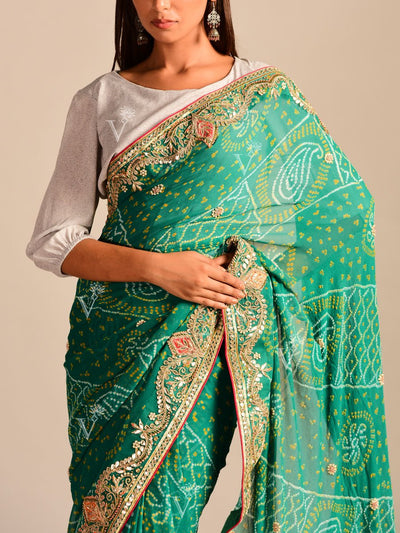 Green Bandhani Georgette Gota Patti Saree