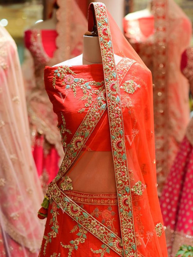 In-Store Red Raw Silk Bridal Lehenga Set