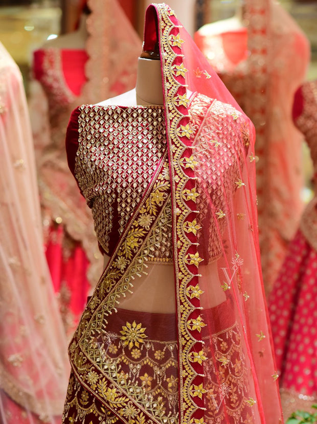 In-Store Maroon Raw Silk Bridal Lehenga Set