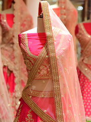 In-Store Pink Silk Bridal Lehenga Set