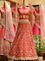 In-Store Red Silk Bridal Lehenga Set