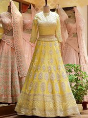 In-Store Lemon Yellow Silk Bridal Lehenga Set