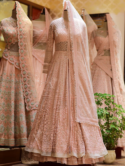 In-Store Pink Silk Bridal Indo Western Set