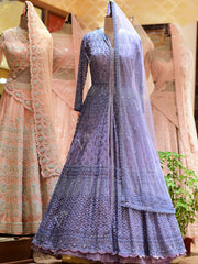 In-Store Blue Silk Bridal Indo Western Set