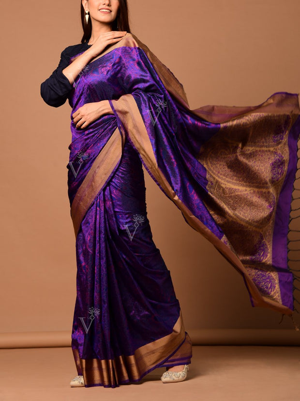 Purple Banarasi Silk Handloom Saree