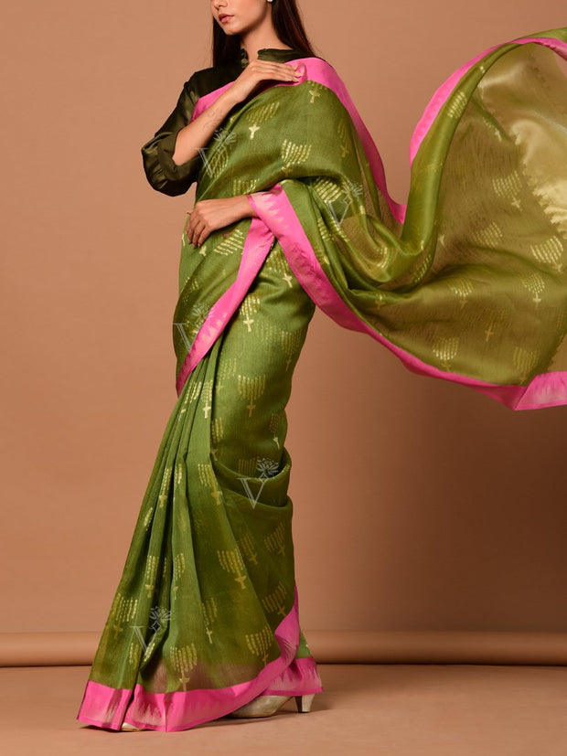Green Banarasi Silk Floral Botti Saree