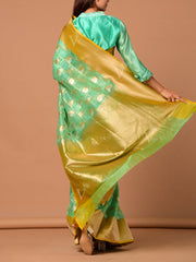 Blue Banarasi Silk Saree With Paisely  Motifs