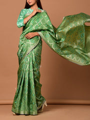 Green Banarasi Silk Handloom Saree