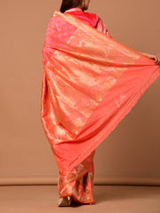 Pink And Peach Banarasi Silk Two Tone Saree