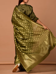 Mehendi Green Banarasi Silk Saree