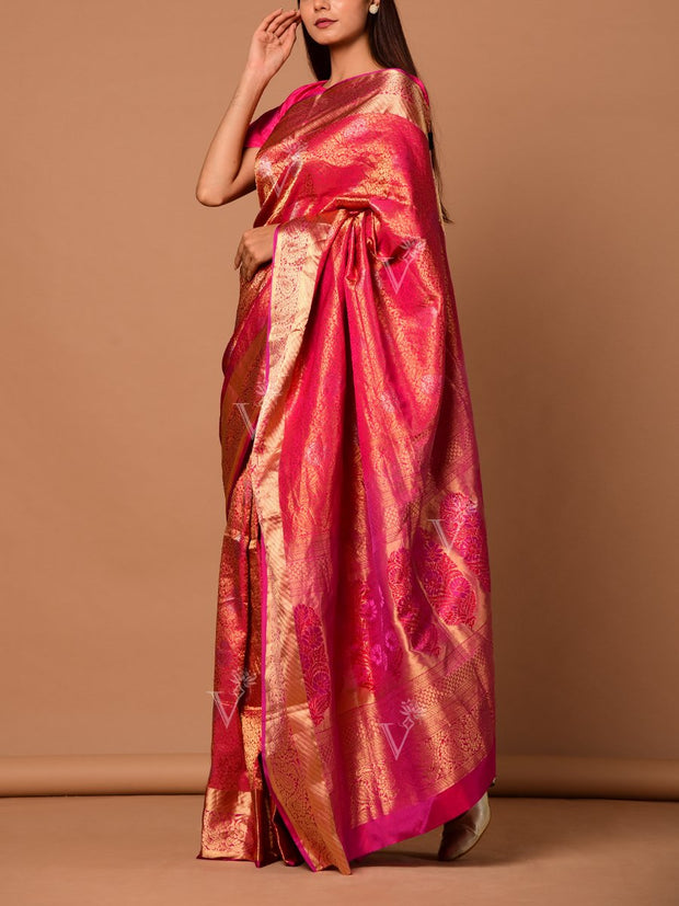 Rani Pink Banarasi Silk Two Tone Saree