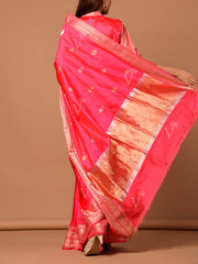Hot Pink Banarasi Silk Drop Booti Saree