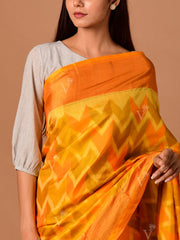 Yellow Chevron Banarasi Silk Saree