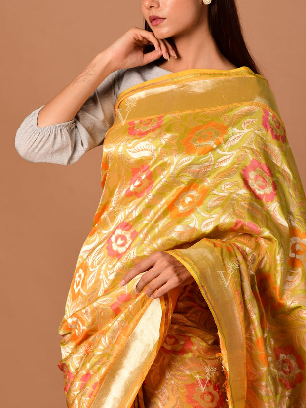 Yellow Banarasi Silk Mesh Jaal Saree
