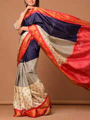 Off White Color Block Banarasi Silk Saree