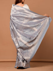Steel Grey Banarasi Silk Saree