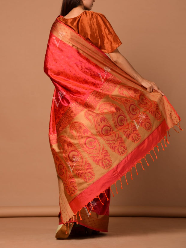 Rust Orange Banrasi Silk Handloom Saree