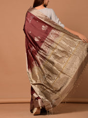 Onion Banrasi Silk Handloom Saree