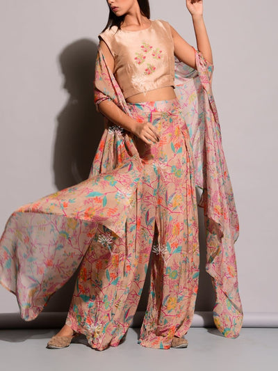 Peach Printed Palazzo With Cape Jacket