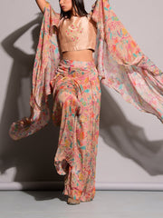 Peach Printed Palazzo With Cape Jacket Top
