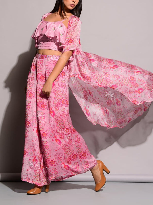 Pink Printed Palazzo With Cape Jacket Top