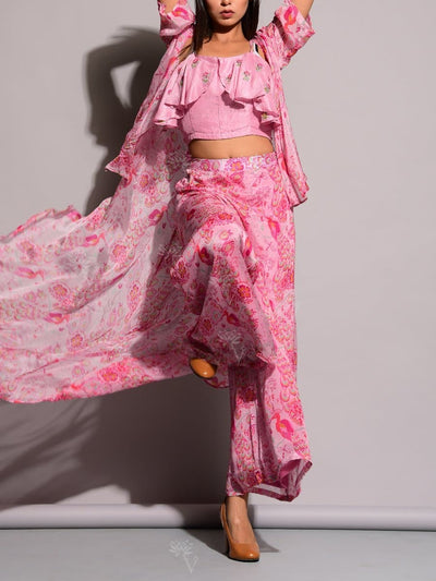Pink Printed Palazzo With Cape Jacket