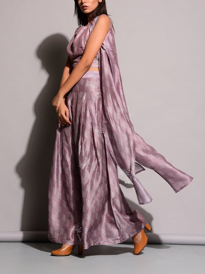 Purple Palazzo With Long Jacket Top
