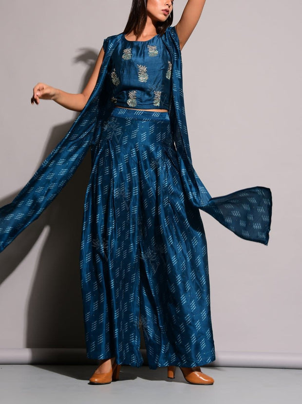 Blue Printed Palazzo With Long Jacket Top