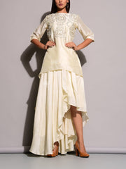 Indo western, Fusion wear, Skirt, Drape, Asymmetric, Contemporary, Trendy, Designer wear, Embroidered