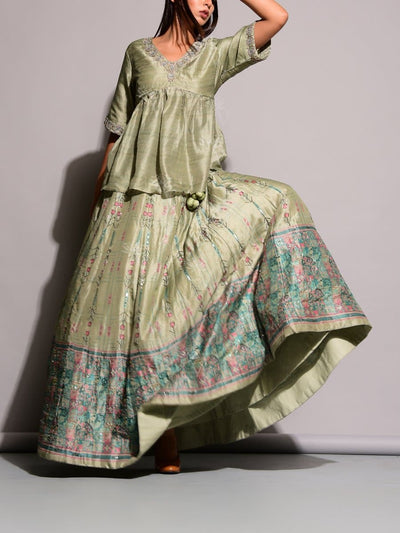 Mint Green Lehenga With Peplum