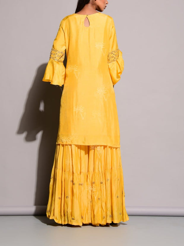 Yellow Silk Sharara Set