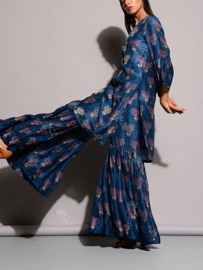 Blue Printed Sharara Set