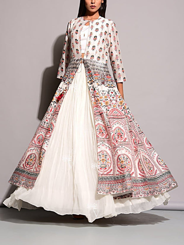 Off White Lehenga With Printed Jacket