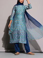 Suit, Suit set, Suits, Kurta, Printed, Regular wear, Light weight, Silk, Cotton