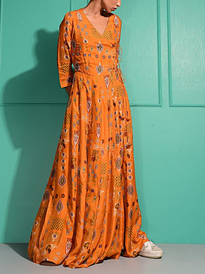 Ochre Printed Dress