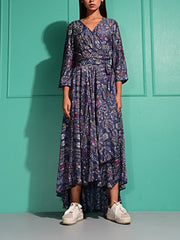 Dress, Asymmetric, Summer, Printed, Long dress, Gowns, Crepe, Western
