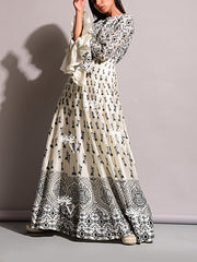 Off White Silk Anarkali Gown